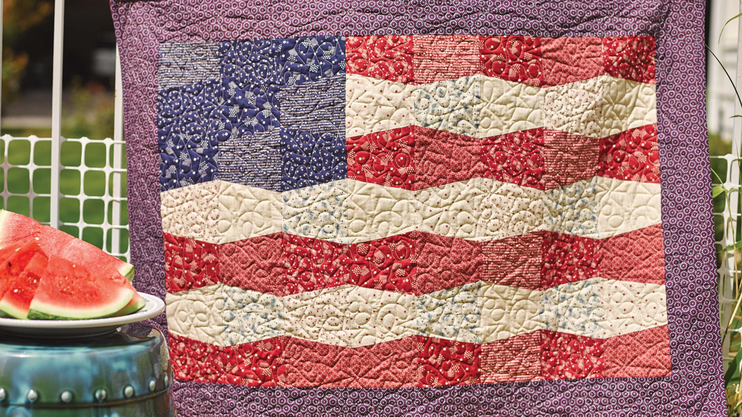 Tumbler Flag Quilt Quilting Tutorials